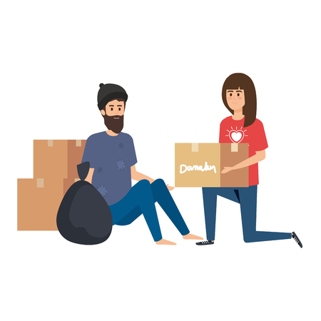 woman volunteer giving a homeless man donations box vector illustration design