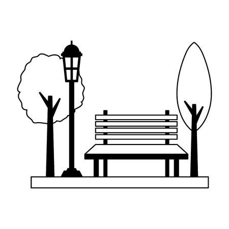 Banc de parc lampadaire lumière design d'illustration vectorielle design d'illustration vectorielle