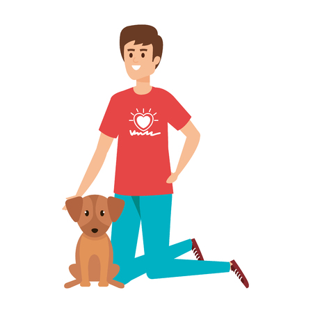 young man volunteer with cute dog vector illustration design Ilustração