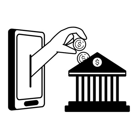 hand pushing coin bank online banking vector illustration Foto de archivo - 121440330