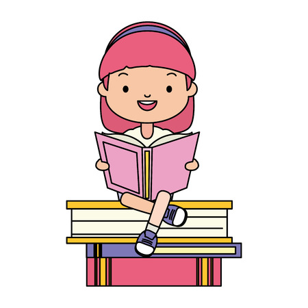 girl sitting books stacked world book day vector illustration