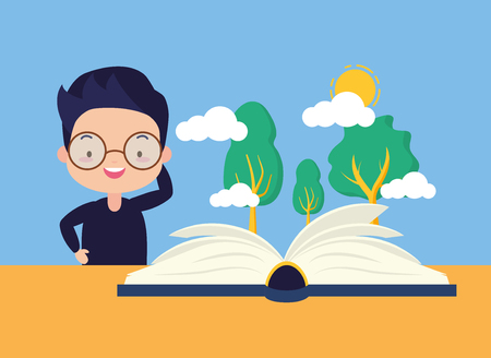 boy reading forest world book day vector illustration