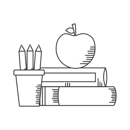 libri apple matite materiale scolastico illustrazione vettoriale design