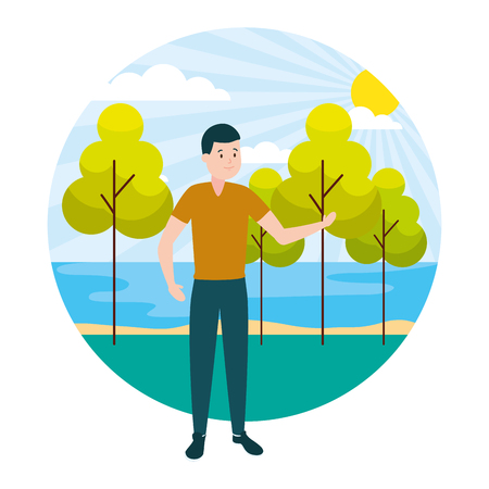man adult character outdoors vector illustration design