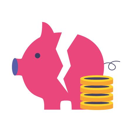 broken piggy bank coins stacked on white background vector illustration Illustration