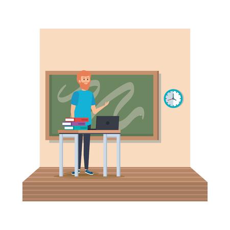 teacher in desk with laptop and books classroom scene vector illustration design