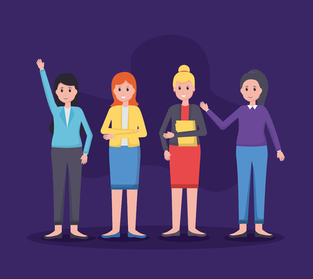 women colleagues team office vector illustration design 版權商用圖片 - 123056201
