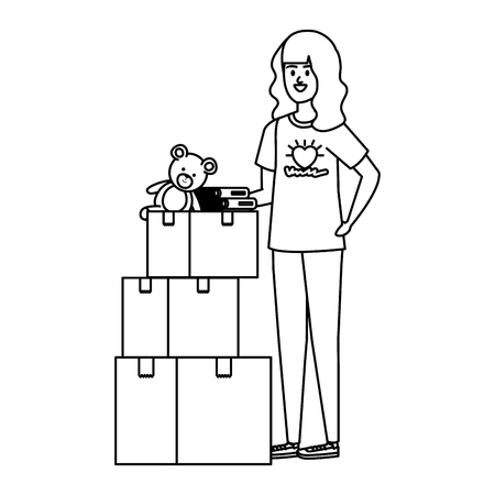 young woman volunteer with donations boxes vector illustration design Ilustração