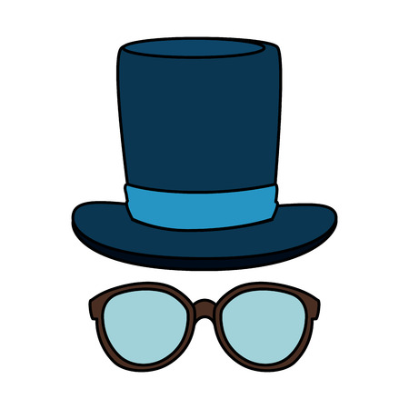 eyeglasses with tophat hipster style vector illustration design Stock Vector - 123056223