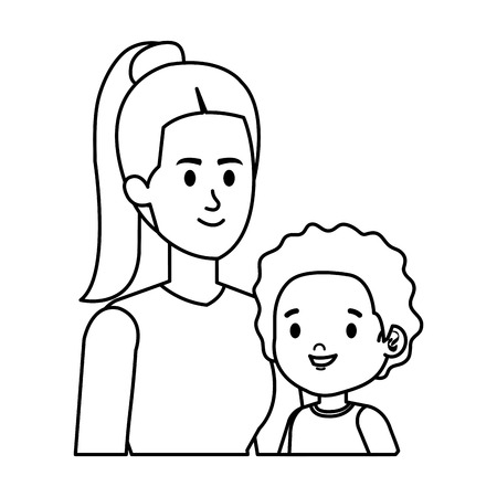 young mother with little son characters vector illustration design 版權商用圖片 - 123056231