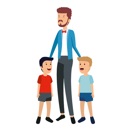 young father with sons characters vector illustration design Ilustração