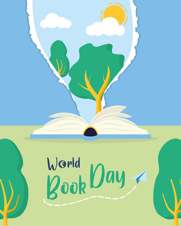 textbook tree nature lettering - world book day vector illustration Banco de Imagens - 123056237