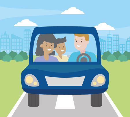 family parents and kid in the car vector illustration design 版權商用圖片 - 123056242