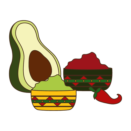 avocado guacamole chili pepper sauces vector illustration