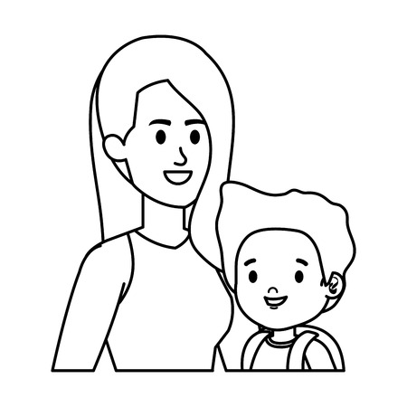 young mother with little son characters vector illustration design 版權商用圖片 - 123056256