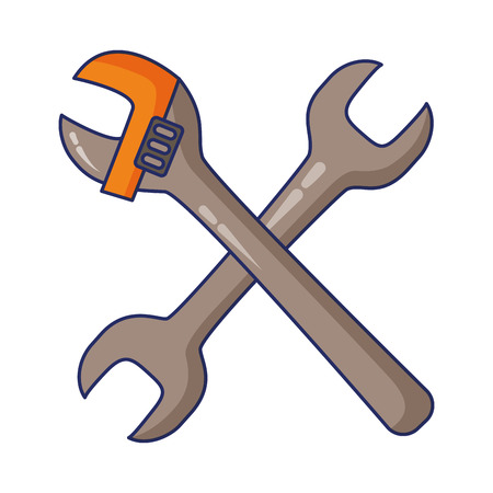 wrench adjustable tools on white background vector illustration