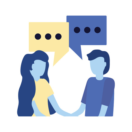 man and woman talk bubbles conversation vector illustration