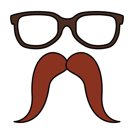 eyeglasses and mustache hipster style vector illustration design