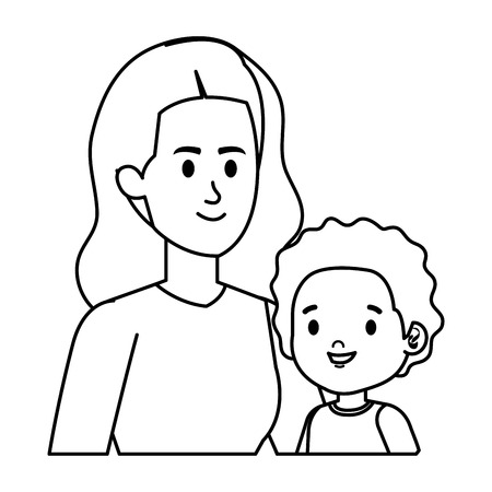 young mother with little son characters vector illustration design 版權商用圖片 - 123056308