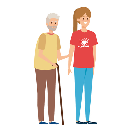 young woman volunteer helping a grandfather vector illustration design