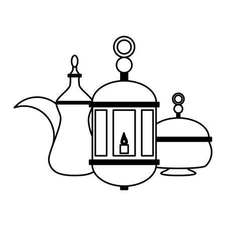 progettazione dell'illustrazione di vettore della cultura della lanterna e della teiera indiana
