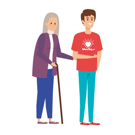 young man volunteer helping a grandmother vector illustration design