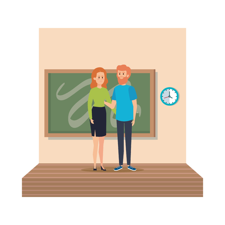 young teachers couple with chalkboard in classroom scene vector illustration design 向量圖像