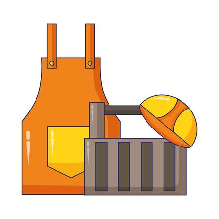 apron and helmet box construction tool vector illustration Illustration