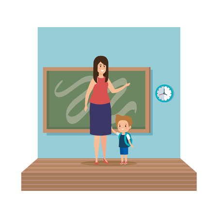 young teacher female with schoolboy classroom scene vector illustration design 向量圖像