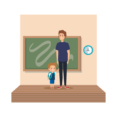 teacher male with schoolboy in classroom vector illustration design 向量圖像