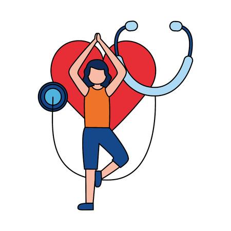 woman yoga heart stethoscope world health day vector illustration