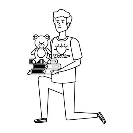 man volunteer with books and bear teddy vector illustration design