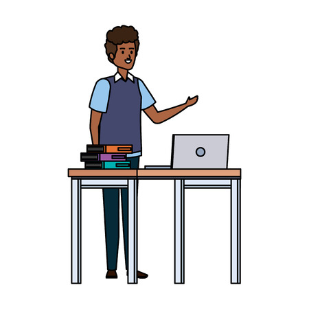 young black teacher in desk with laptop and books vector illustration design