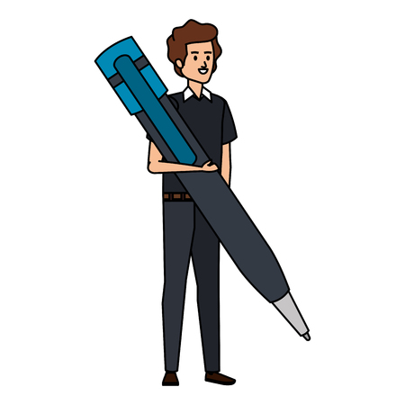 young teacher male with big pen character vector illustration design