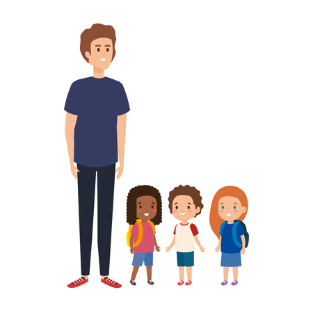 young teacher male with little students vector illustration design 일러스트