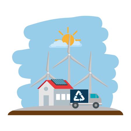 Diseño de ilustración de vector de icono aislado de energía eólica