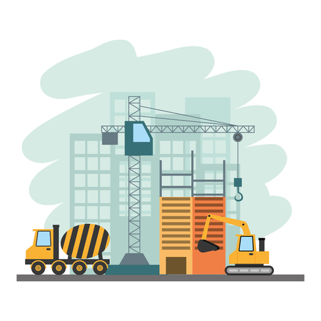 building construction bulldozer mixer truck crane tools vector illustration