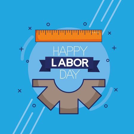 measure gear tool labour day vector illustration