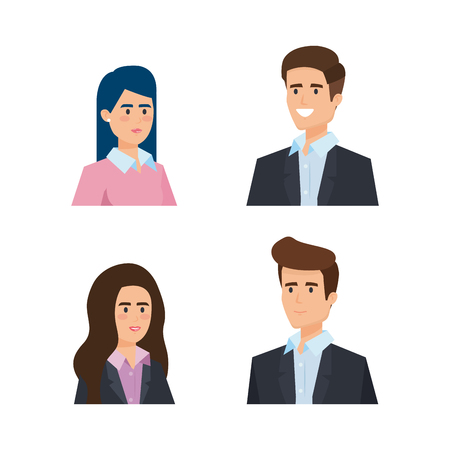 set professional businesswomen and businessmen executive vector illustration Vettoriali