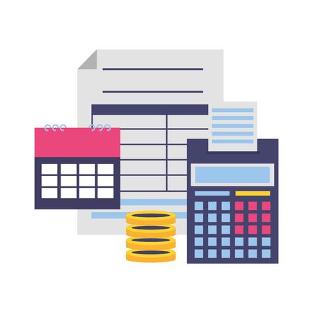 Calculatrice de calendrier sous forme d'argent paiement d'impôt vector illustration Vecteurs