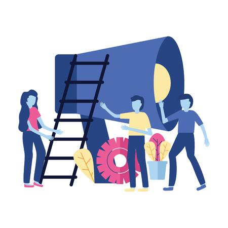business people loudspeaker stairs vector illustration design Stock Vector - 123056525