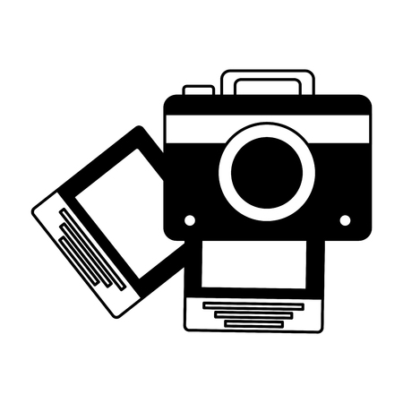 photography camera pictures on white background vector illustration