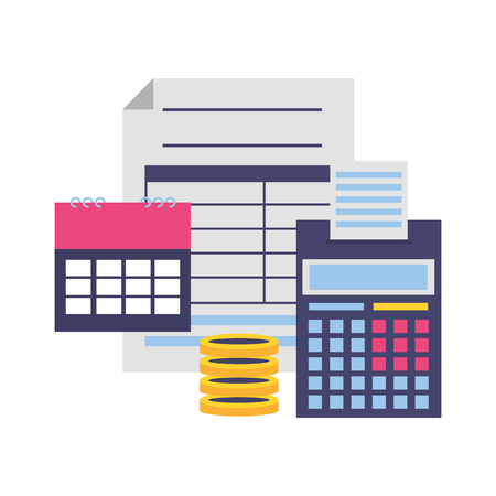 calendar calculator money form tax payment vector illustration