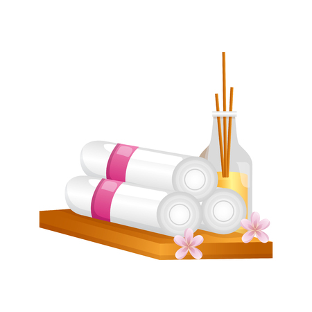 aromatherapy sticks towels flowers spa treatment therapy vector illustration Çizim