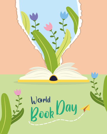 textbook nature lettering - world book day vector illustration  イラスト・ベクター素材