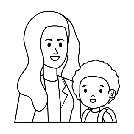 young mother with little son characters vector illustration design 版權商用圖片 - 123056540