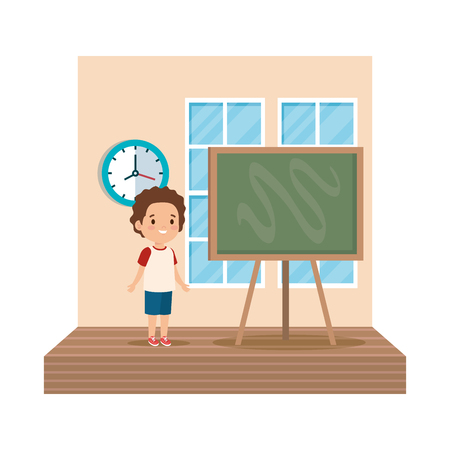 little boy student in the classroom vector illustration design Ilustração