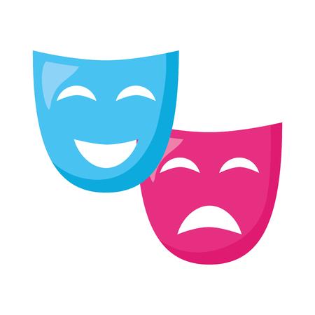 theater mask comedy drama white background vector illustration design Illustration
