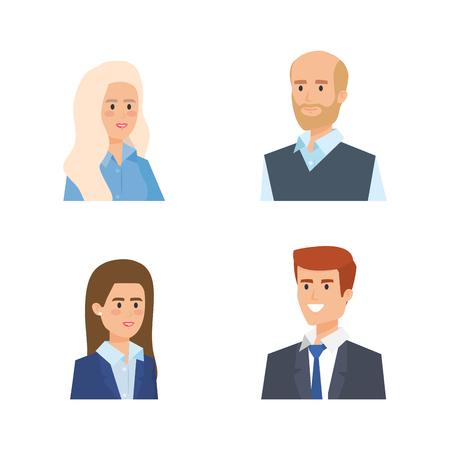 set professional businesswomen and businessmen success vector illustration 向量圖像