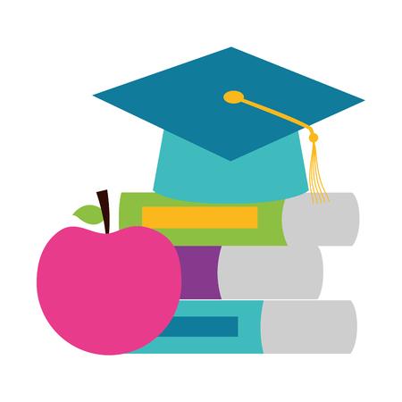 school graduation hat books apple teachers day vector illustration Illustration
